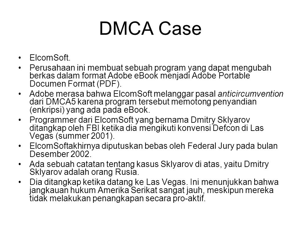DMCA Case ElcomSoft.
