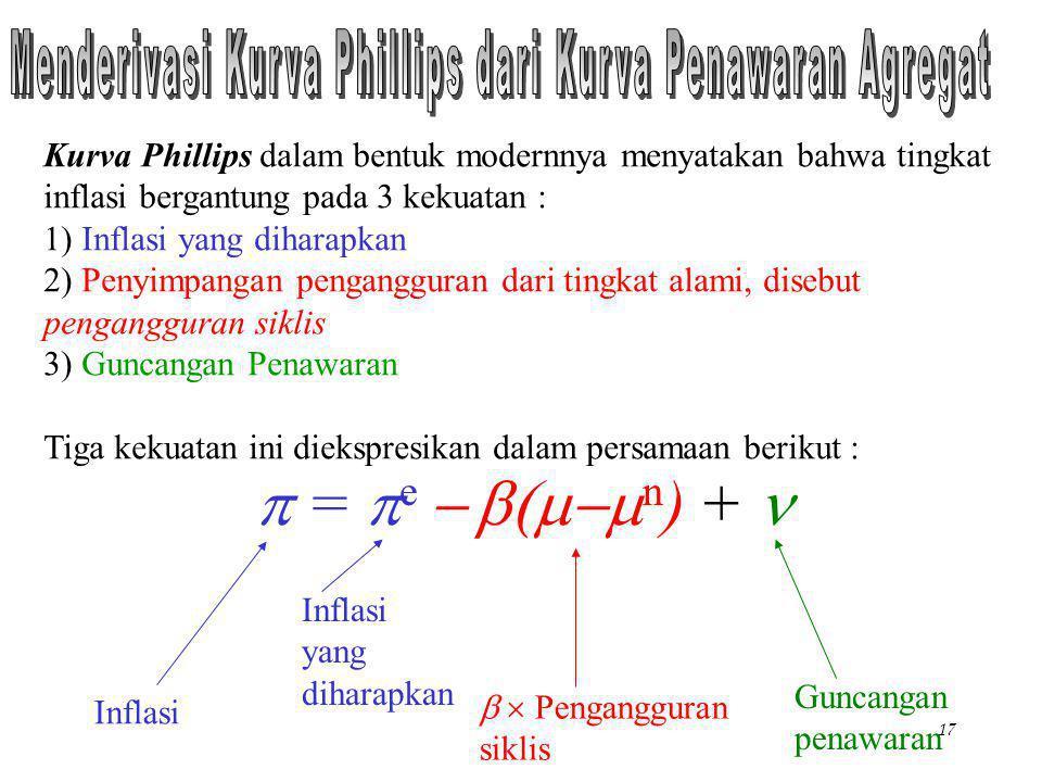 Chapter Thirteen17 Kurva Phillips dalam bentuk modernnya menyatakan bahwa tingkat inflasi bergantung pada 3 kekuatan : 1) Inflasi yang diharapkan 2) P
