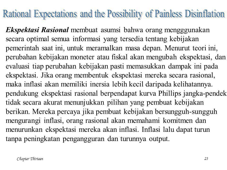 Chapter Thirteen23 Ekspektasi Rasional membuat asumsi bahwa orang mengggunakan secara optimal semua informasi yang tersedia tentang kebijakan pemerint
