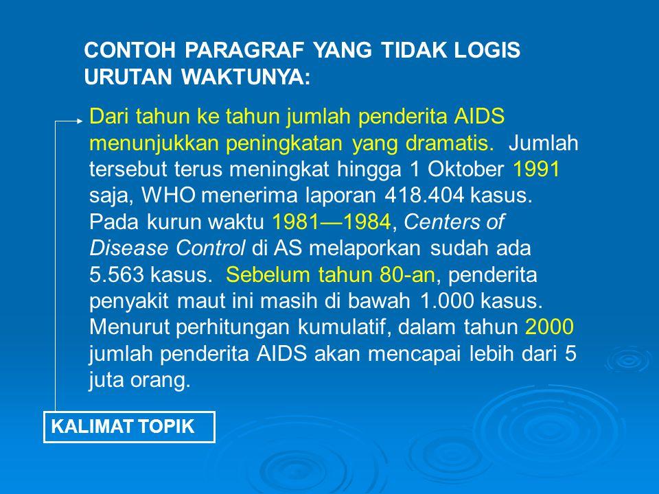 Dari tahun ke tahun jumlah penderita AIDS menunjukkan peningkatan yang dramatis.