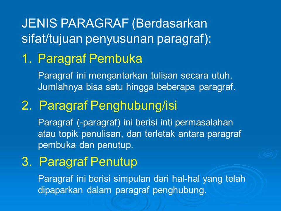 JENIS PARAGRAF (Berdasarkan sifat/tujuan penyusunan paragraf): Paragraf ini mengantarkan tulisan secara utuh.