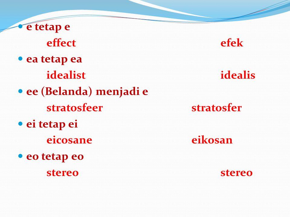 e tetap e effectefek ea tetap ea idealistidealis ee (Belanda) menjadi e stratosfeerstratosfer ei tetap ei eicosaneeikosan eo tetap eostereo