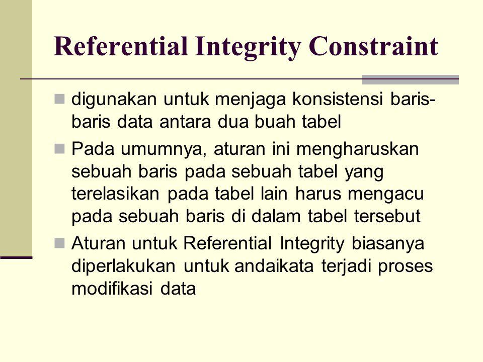 Referential Integrity Constraint digunakan untuk menjaga konsistensi baris- baris data antara dua buah tabel Pada umumnya, aturan ini mengharuskan seb