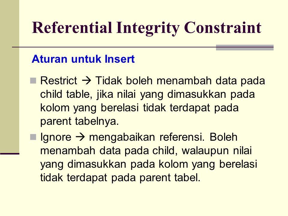 Referential Integrity Constraint Restrict  Tidak boleh menambah data pada child table, jika nilai yang dimasukkan pada kolom yang berelasi tidak terd