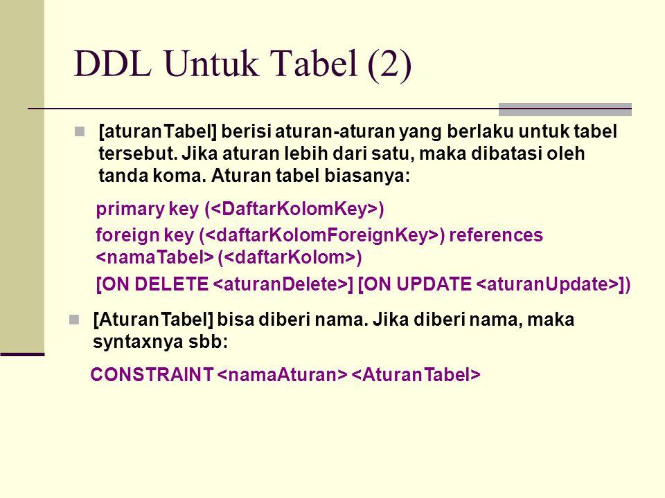 DDL Untuk Tabel (2) [aturanTabel] berisi aturan-aturan yang berlaku untuk tabel tersebut. Jika aturan lebih dari satu, maka dibatasi oleh tanda koma.