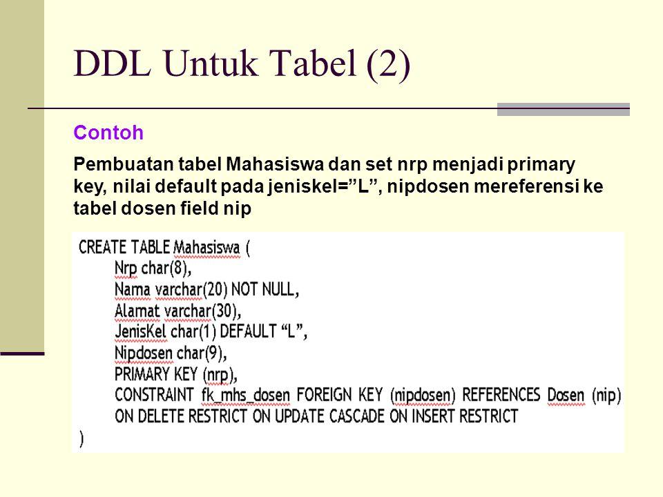 """DDL Untuk Tabel (2) Contoh Pembuatan tabel Mahasiswa dan set nrp menjadi primary key, nilai default pada jeniskel=""""L"""", nipdosen mereferensi ke tabel d"""