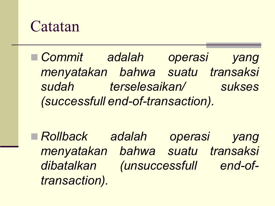 Catatan Commit adalah operasi yang menyatakan bahwa suatu transaksi sudah terselesaikan/ sukses (successfull end-of-transaction). Rollback adalah oper