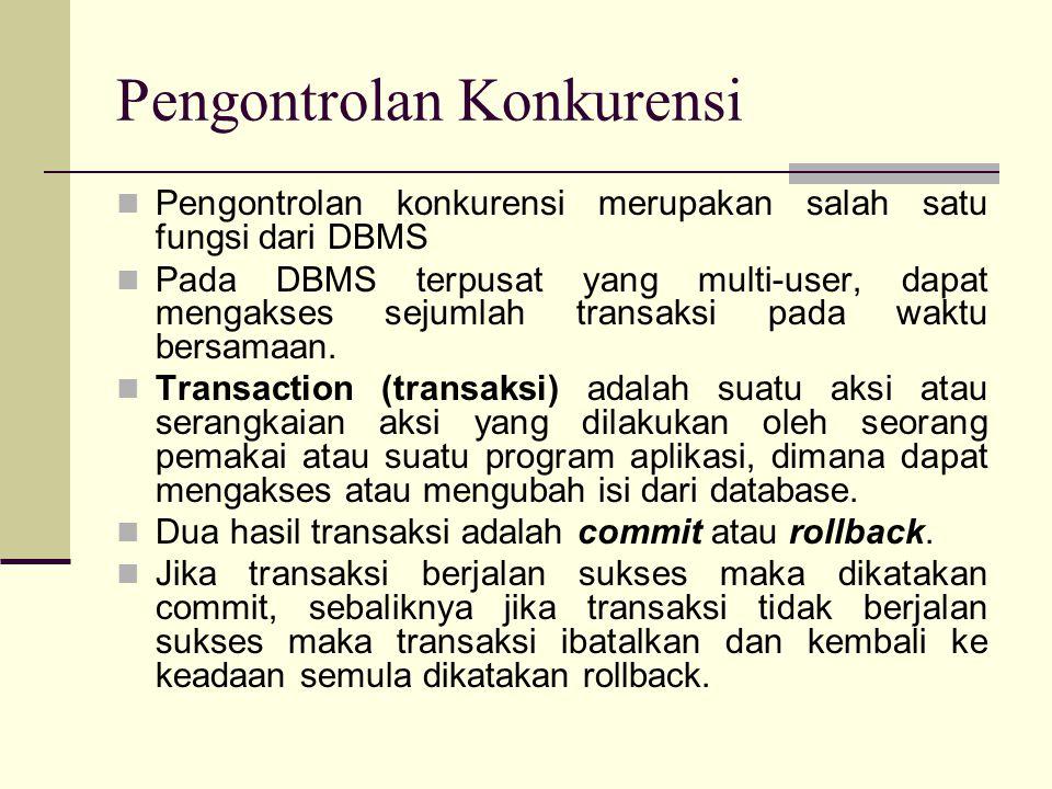 Pengontrolan Konkurensi Pengontrolan konkurensi merupakan salah satu fungsi dari DBMS Pada DBMS terpusat yang multi-user, dapat mengakses sejumlah tra
