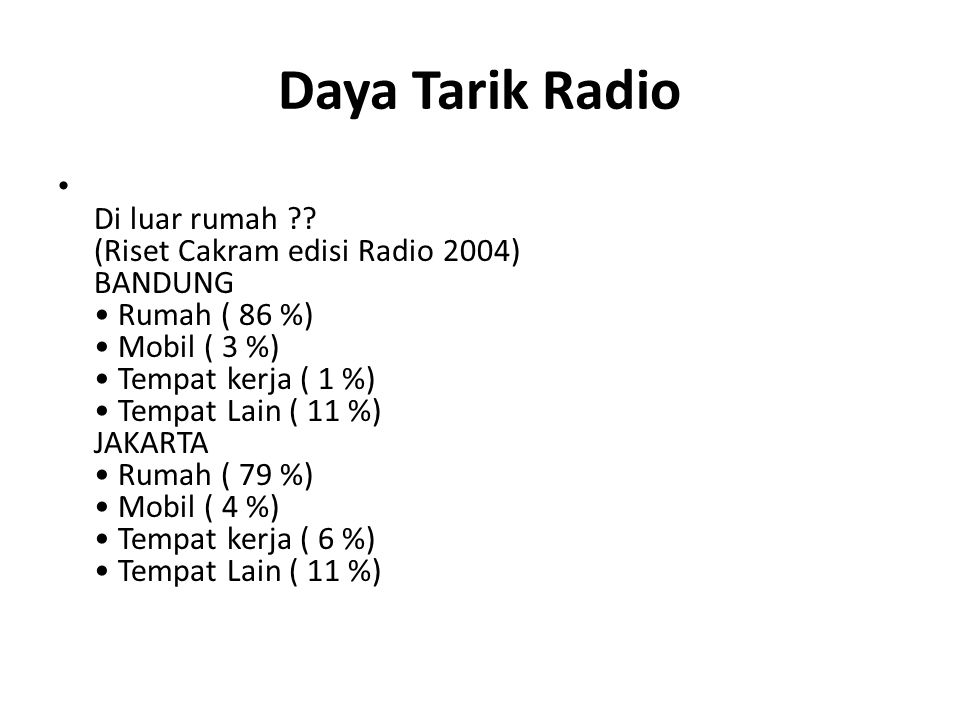 Daya Tarik Radio Di luar rumah ?? (Riset Cakram edisi Radio 2004) BANDUNG Rumah ( 86 %) Mobil ( 3 %) Tempat kerja ( 1 %) Tempat Lain ( 11 %) JAKARTA R