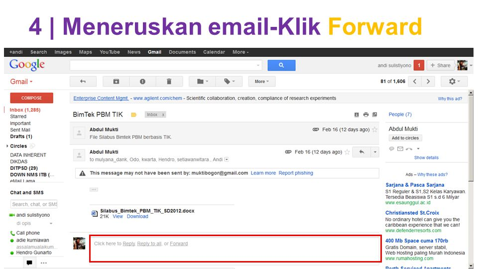 4 | Meneruskan email-Klik Forward