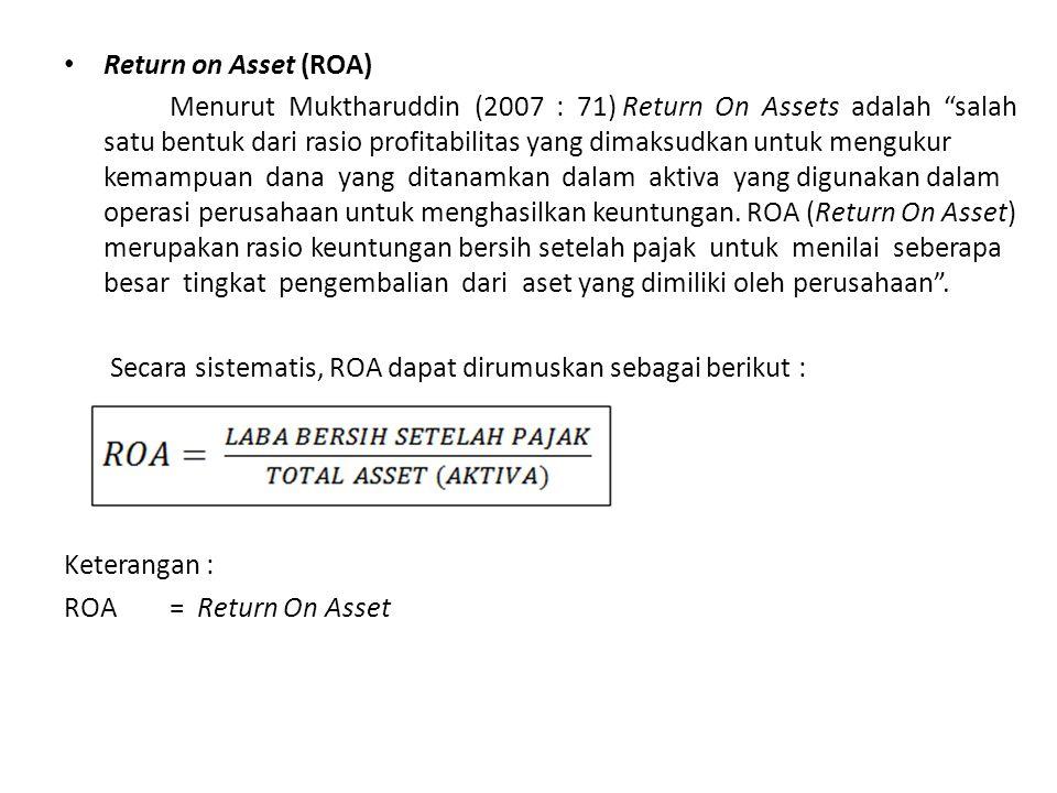 """Return on Asset (ROA) Menurut Muktharuddin (2007 : 71) Return On Assets adalah """"salah satu bentuk dari rasio profitabilitas yang dimaksudkan untuk men"""