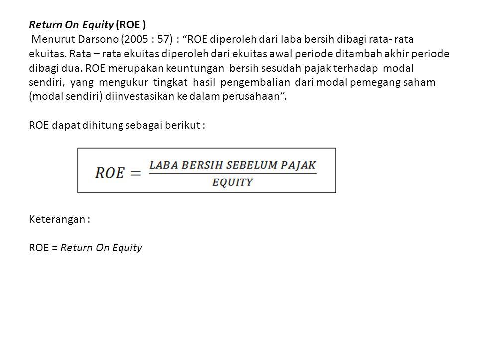 """Return On Equity (ROE ) Menurut Darsono (2005 : 57) : """"ROE diperoleh dari laba bersih dibagi rata- rata ekuitas. Rata – rata ekuitas diperoleh dari ek"""