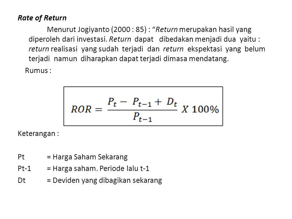 """Rate of Return Menurut Jogiyanto (2000 : 85) : """"Return merupakan hasil yang diperoleh dari investasi. Return dapat dibedakan menjadi dua yaitu : retur"""