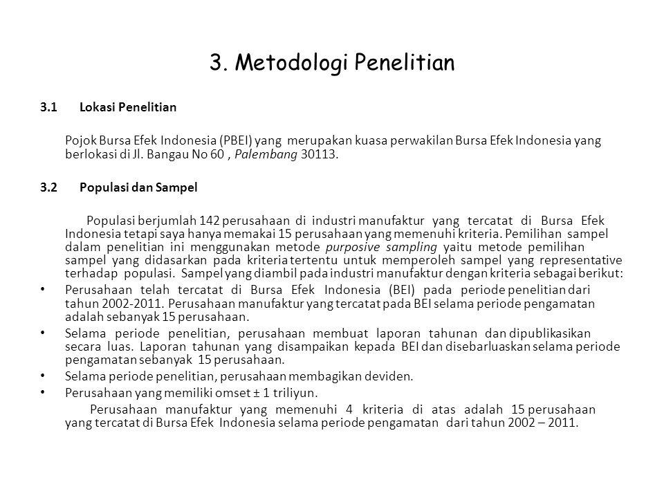 3. Metodologi Penelitian 3.1 Lokasi Penelitian Pojok Bursa Efek Indonesia (PBEI) yang merupakan kuasa perwakilan Bursa Efek Indonesia yang berlokasi d