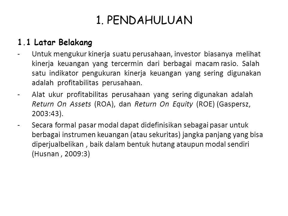 1. PENDAHULUAN 1.1 Latar Belakang -Untuk mengukur kinerja suatu perusahaan, investor biasanya melihat kinerja keuangan yang tercermin dari berbagai ma