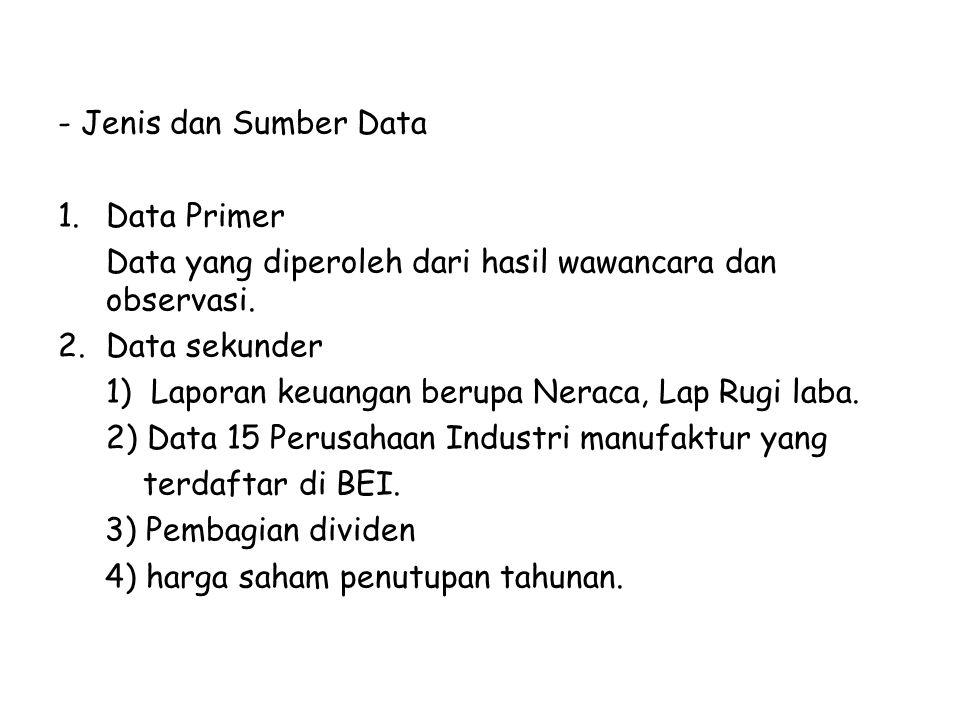 - Jenis dan Sumber Data 1.Data Primer Data yang diperoleh dari hasil wawancara dan observasi. 2.Data sekunder 1) Laporan keuangan berupa Neraca, Lap R