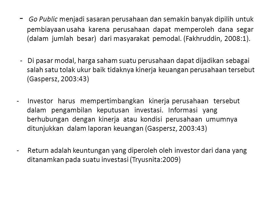 - Go Public menjadi sasaran perusahaan dan semakin banyak dipilih untuk pembiayaan usaha karena perusahaan dapat memperoleh dana segar (dalam jumlah b