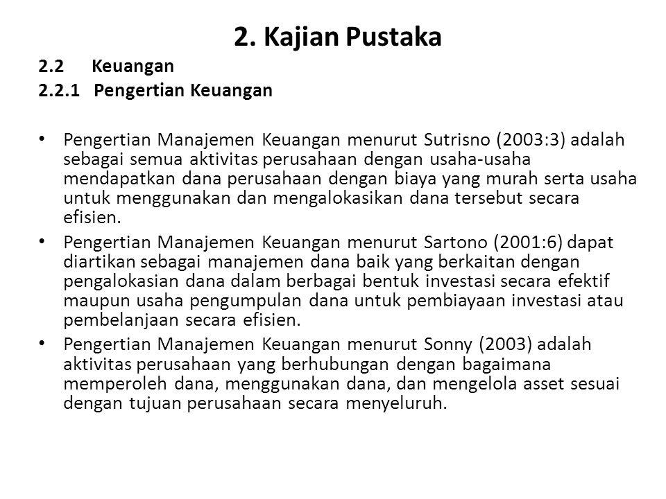 2. Kajian Pustaka 2.2 Keuangan 2.2.1 Pengertian Keuangan Pengertian Manajemen Keuangan menurut Sutrisno (2003:3) adalah sebagai semua aktivitas perusa