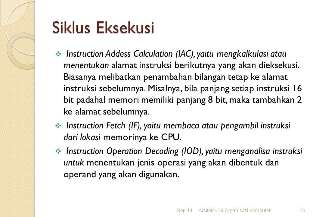 Siklus Eksekusi  Instruction Addess Calculation (IAC), yaitu mengkalkulasi atau menentukan alamat instruksi berikutnya yang akan dieksekusi. Biasanya