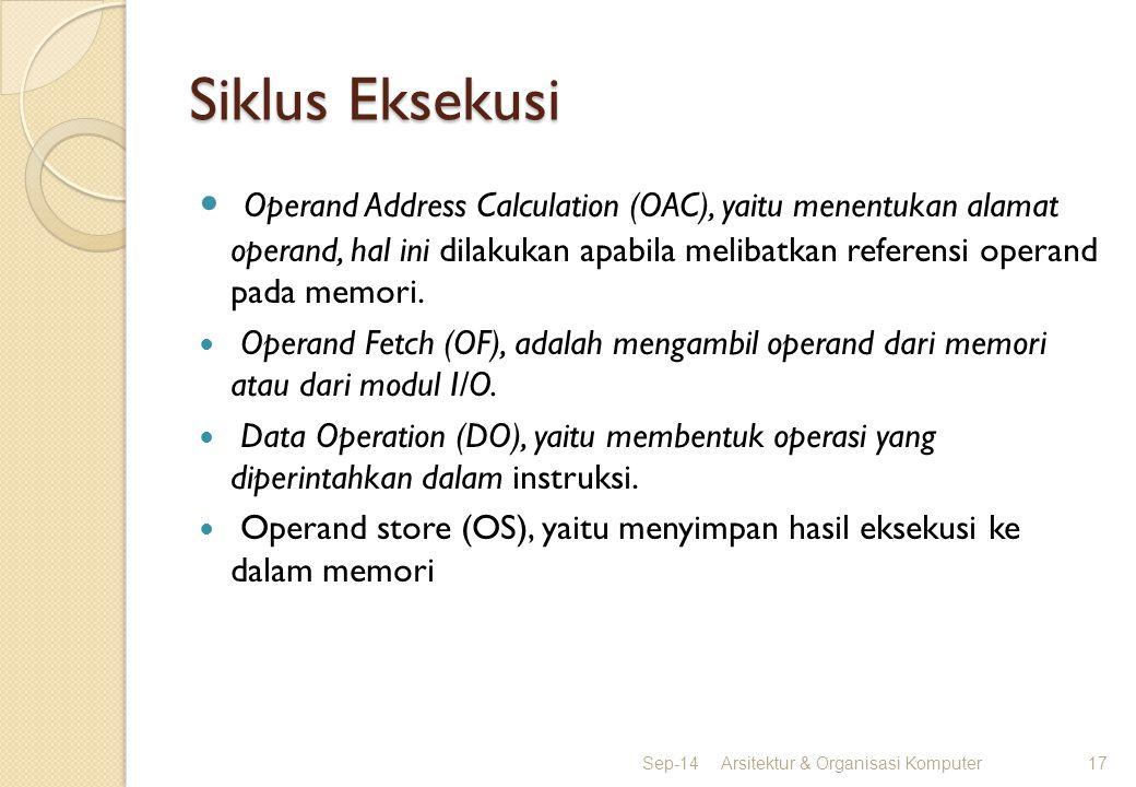 Siklus Eksekusi Operand Address Calculation (OAC), yaitu menentukan alamat operand, hal ini dilakukan apabila melibatkan referensi operand pada memori