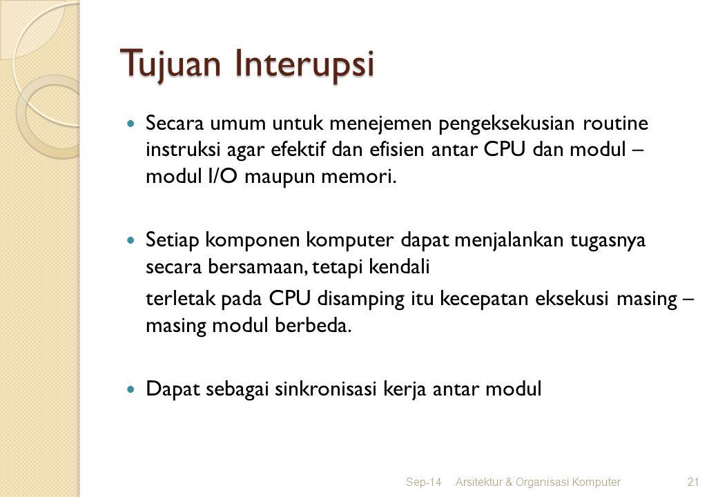 Tujuan Interupsi Secara umum untuk menejemen pengeksekusian routine instruksi agar efektif dan efisien antar CPU dan modul – modul I/O maupun memori.