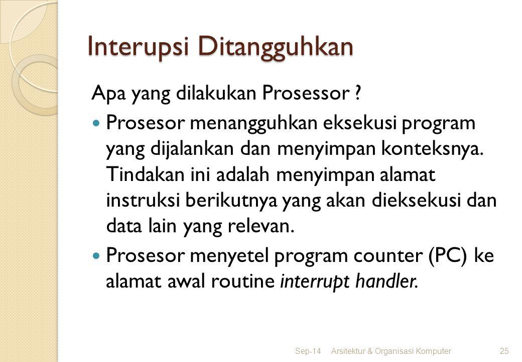 Interupsi Ditangguhkan Apa yang dilakukan Prosessor ? Prosesor menangguhkan eksekusi program yang dijalankan dan menyimpan konteksnya. Tindakan ini ad