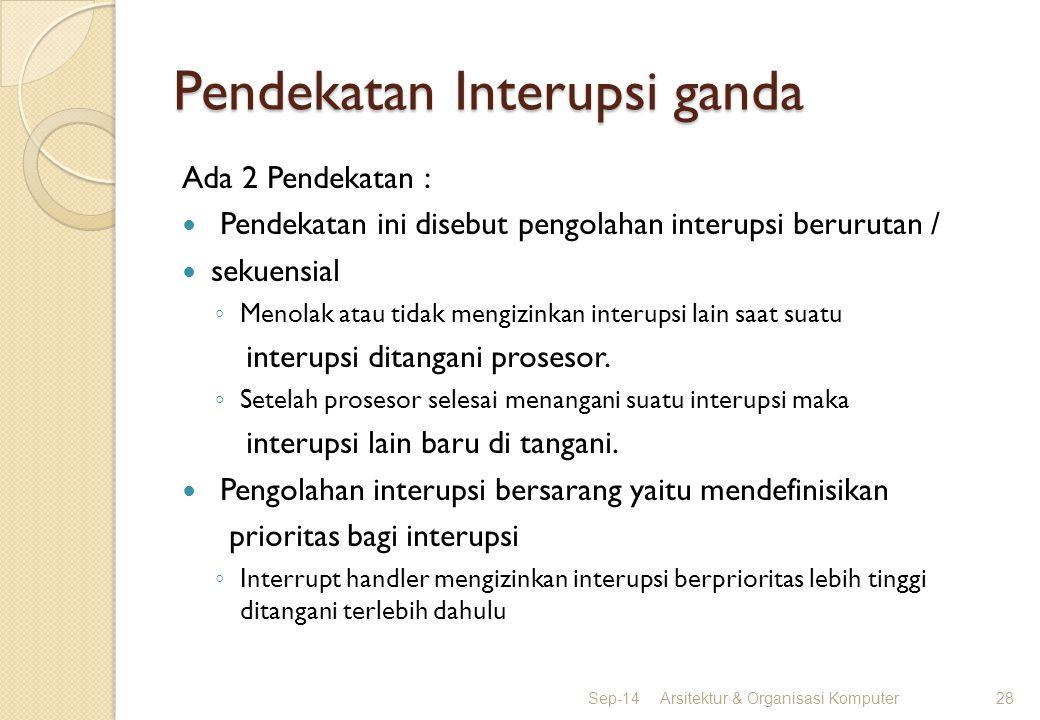 Pendekatan Interupsi ganda Ada 2 Pendekatan : Pendekatan ini disebut pengolahan interupsi berurutan / sekuensial ◦ Menolak atau tidak mengizinkan inte