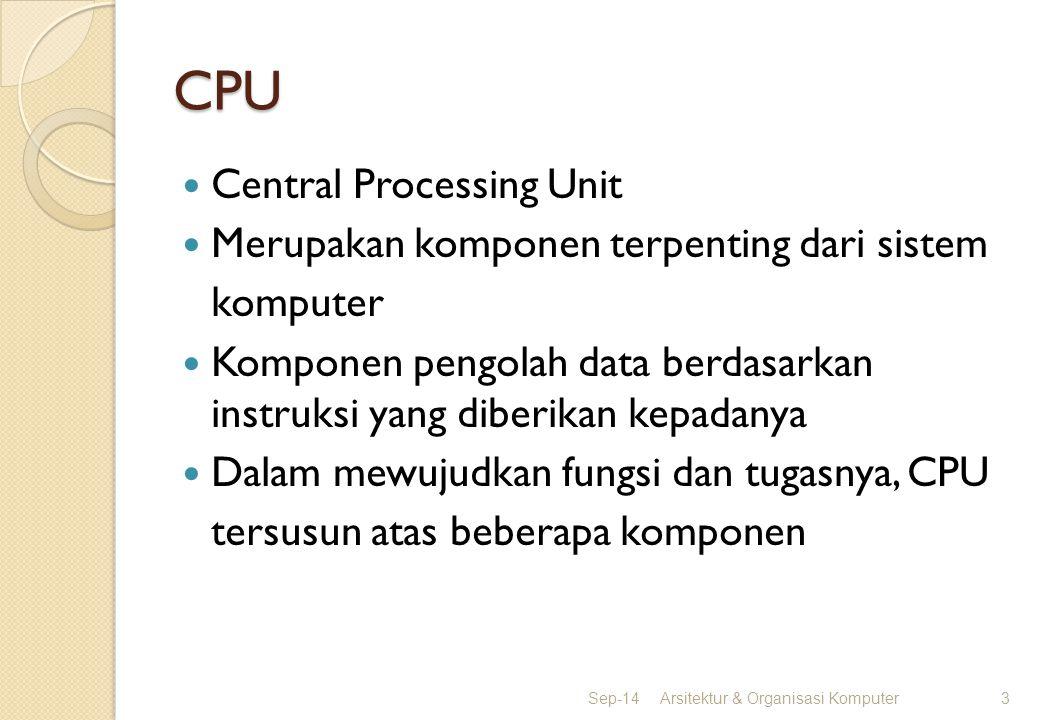 CPU Central Processing Unit Merupakan komponen terpenting dari sistem komputer Komponen pengolah data berdasarkan instruksi yang diberikan kepadanya D