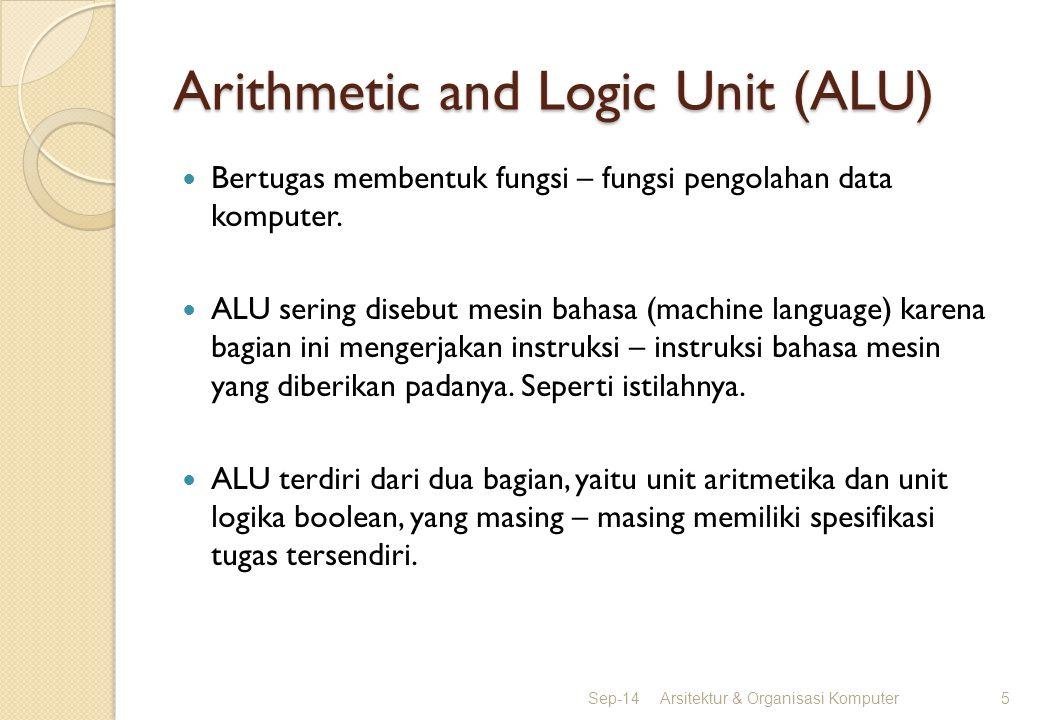 Arithmetic and Logic Unit (ALU) Bertugas membentuk fungsi – fungsi pengolahan data komputer. ALU sering disebut mesin bahasa (machine language) karena