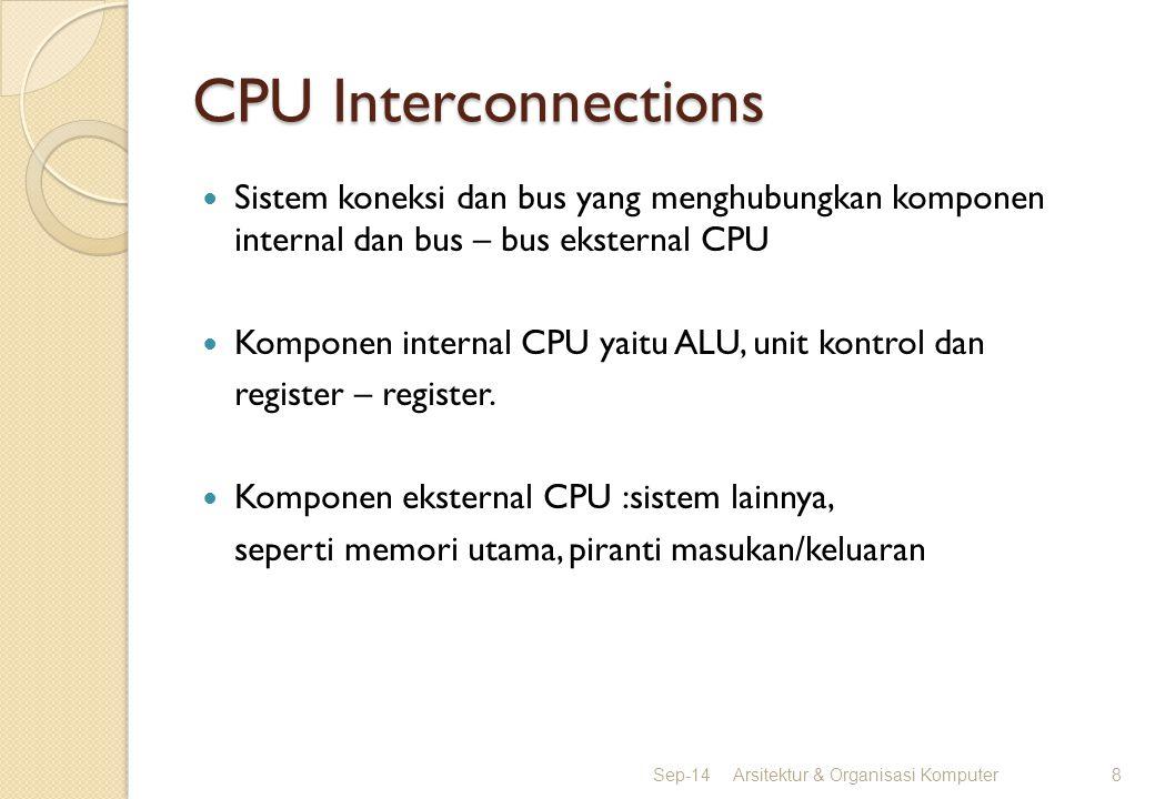 CPU Interconnections Sistem koneksi dan bus yang menghubungkan komponen internal dan bus – bus eksternal CPU Komponen internal CPU yaitu ALU, unit kon