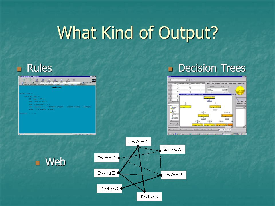What Kind of Output? Rules Rules Decision Trees Decision Trees Web Web