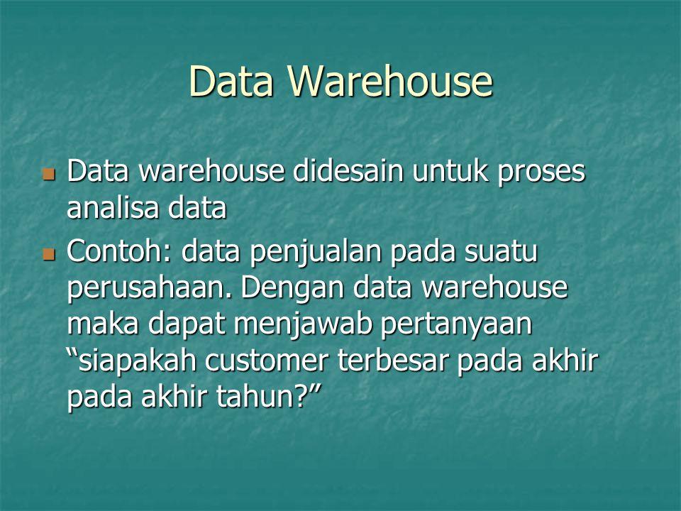 Data Warehouse Data warehouse didesain untuk proses analisa data Data warehouse didesain untuk proses analisa data Contoh: data penjualan pada suatu p