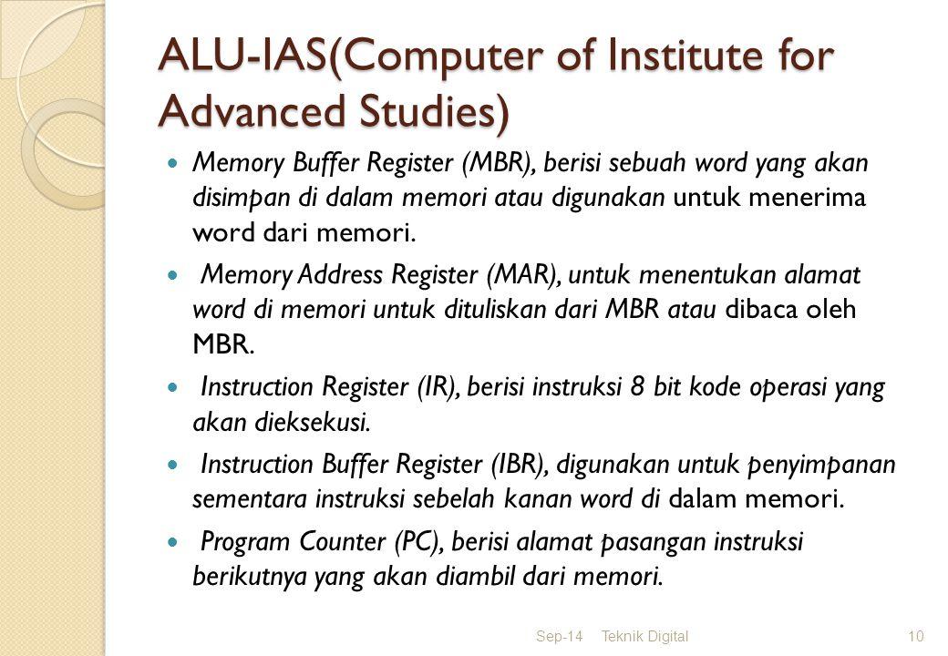 ALU-IAS(Computer of Institute for Advanced Studies) Memory Buffer Register (MBR), berisi sebuah word yang akan disimpan di dalam memori atau digunakan untuk menerima word dari memori.
