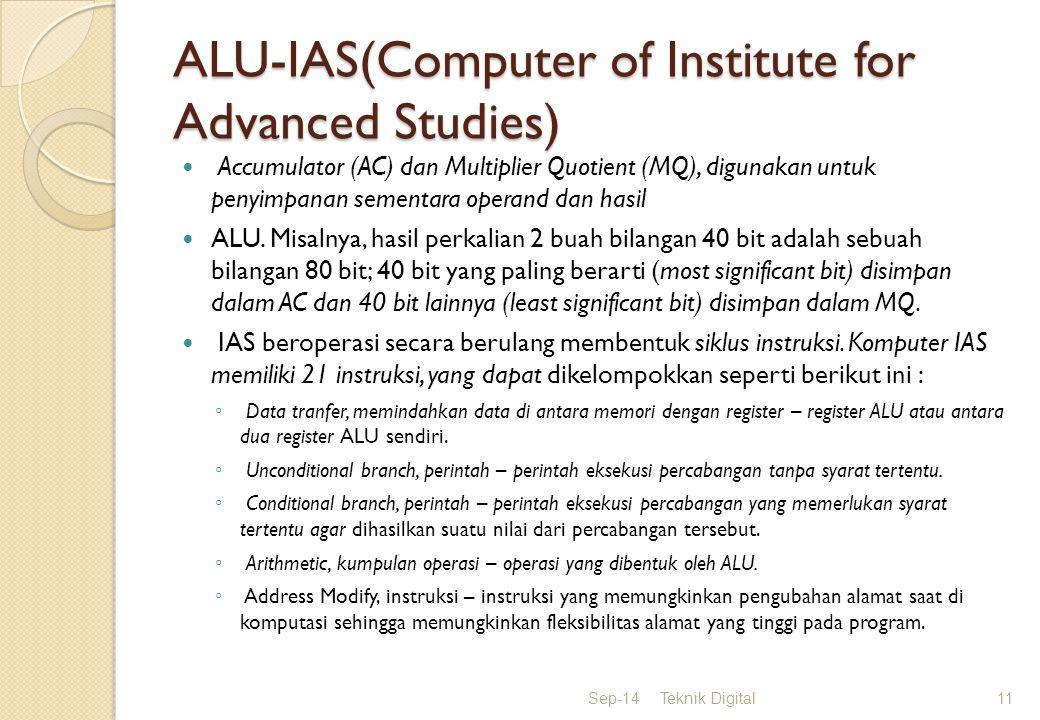 ALU-IAS(Computer of Institute for Advanced Studies) Accumulator (AC) dan Multiplier Quotient (MQ), digunakan untuk penyimpanan sementara operand dan hasil ALU.