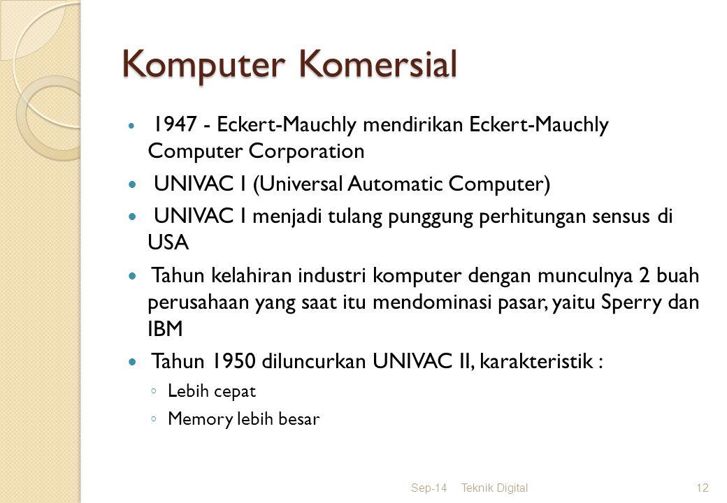 Komputer Komersial 1947 - Eckert-Mauchly mendirikan Eckert-Mauchly Computer Corporation UNIVAC I (Universal Automatic Computer) UNIVAC I menjadi tulang punggung perhitungan sensus di USA Tahun kelahiran industri komputer dengan munculnya 2 buah perusahaan yang saat itu mendominasi pasar, yaitu Sperry dan IBM Tahun 1950 diluncurkan UNIVAC II, karakteristik : ◦ Lebih cepat ◦ Memory lebih besar Sep-14Teknik Digital12