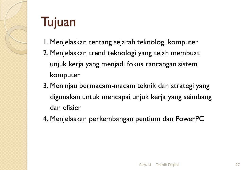 Tujuan 1.Menjelaskan tentang sejarah teknologi komputer 2.