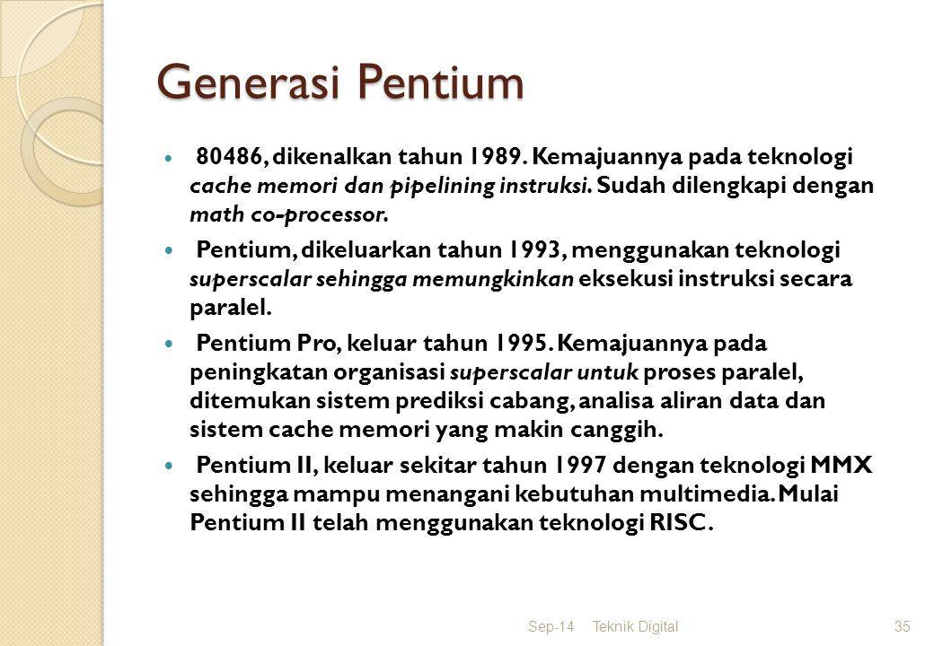 Generasi Pentium Pentium III, terdapat kemampuan instruksi floating point untuk menangani grafis 3D.