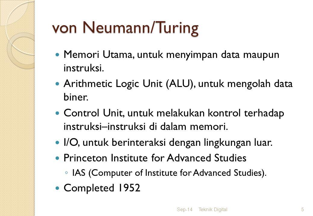 von Neumann/Turing Ahli matematika : konsultan pembuatan ENIAC 1945 memperbaiki kelemahan ENIAC : EDVAC EDVAC (Electronic Discrete Variable Computer) Konsep: stored-program concept 1946 dipublikasikasikan Dikenal :Komputer IAS (Computer of Institute for Advanced Studies).