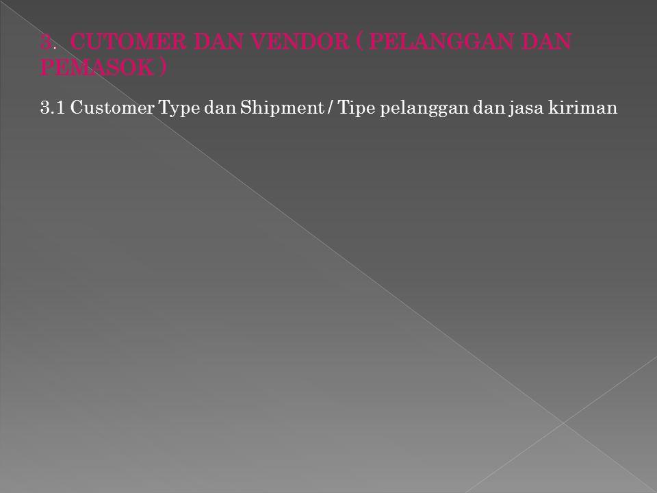3.1 Customer Type dan Shipment / Tipe pelanggan dan jasa kiriman