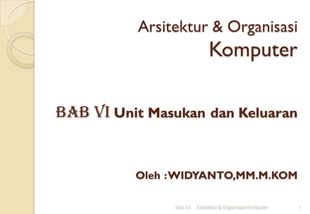 Arsitektur & Organisasi Komputer BAB vI Unit Masukan dan Keluaran Oleh : WIDYANTO,MM.M.KOM Sep-14Arsitektur & Organisasi Komputer1
