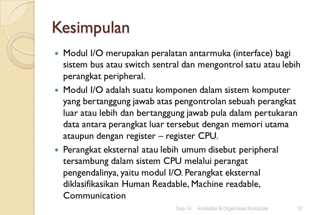 Kesimpulan Modul I/O merupakan peralatan antarmuka (interface) bagi sistem bus atau switch sentral dan mengontrol satu atau lebih perangkat peripheral
