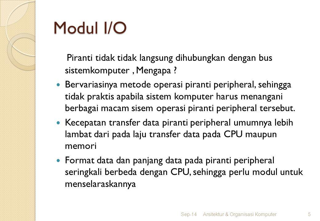 Modul I/O Piranti tidak tidak langsung dihubungkan dengan bus sistemkomputer, Mengapa ? Bervariasinya metode operasi piranti peripheral, sehingga tida