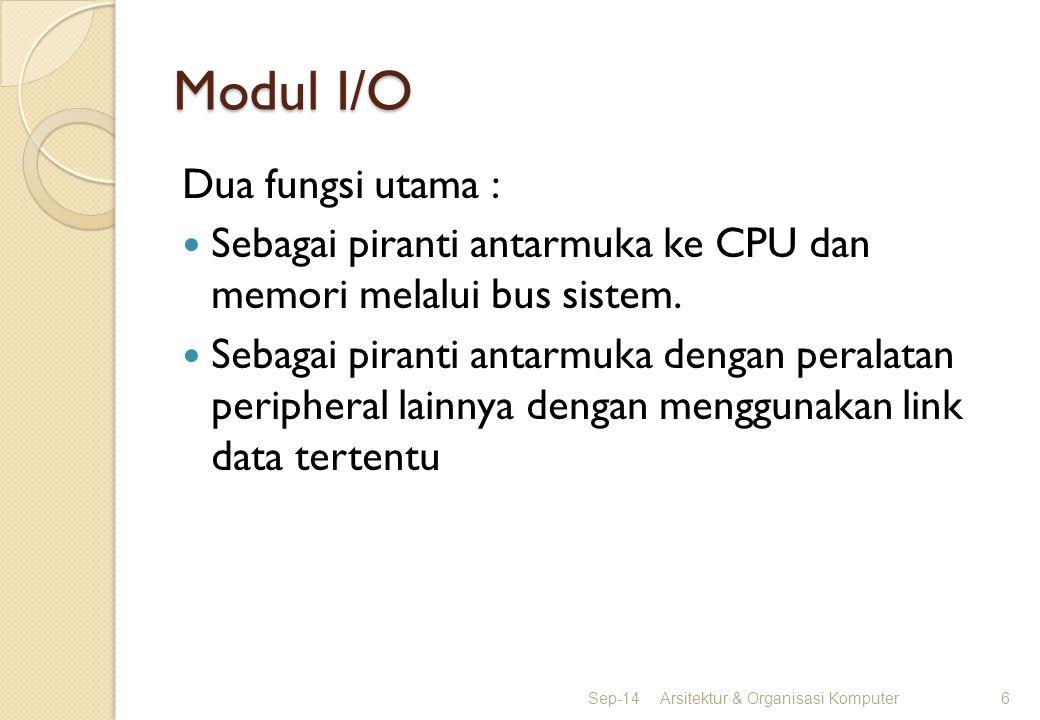 Modul I/O Dua fungsi utama : Sebagai piranti antarmuka ke CPU dan memori melalui bus sistem. Sebagai piranti antarmuka dengan peralatan peripheral lai