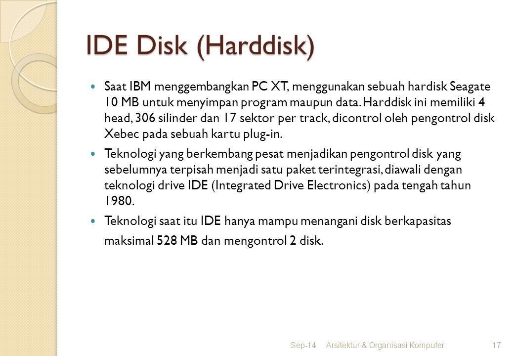 IDE Disk (Harddisk) Saat IBM menggembangkan PC XT, menggunakan sebuah hardisk Seagate 10 MB untuk menyimpan program maupun data. Harddisk ini memiliki