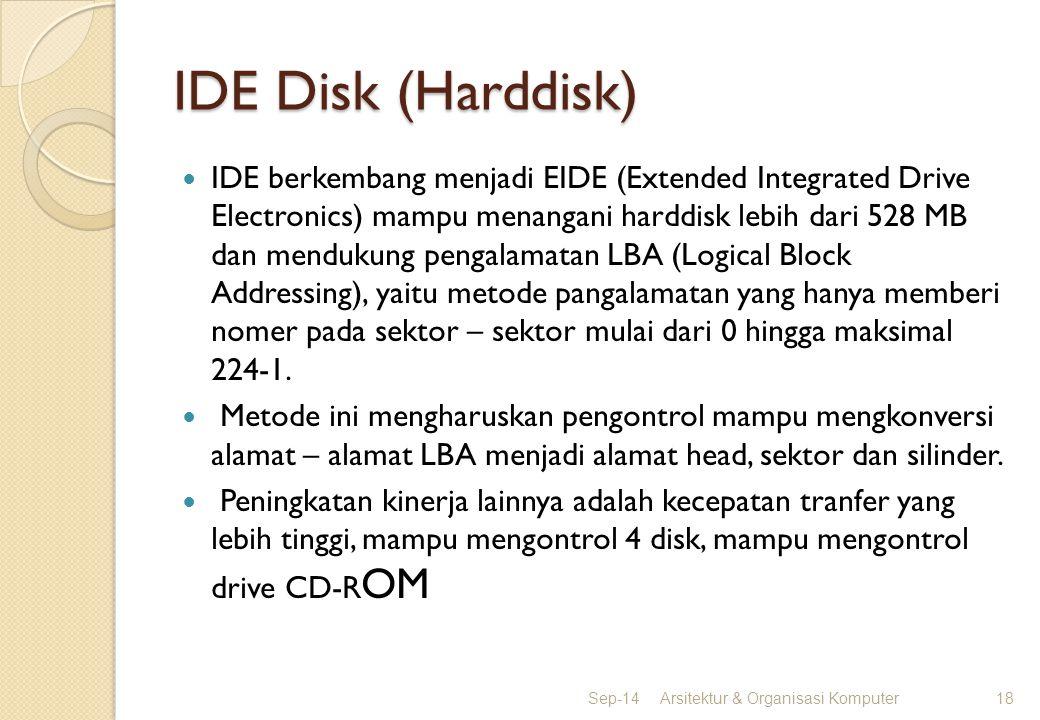IDE Disk (Harddisk) IDE berkembang menjadi EIDE (Extended Integrated Drive Electronics) mampu menangani harddisk lebih dari 528 MB dan mendukung penga