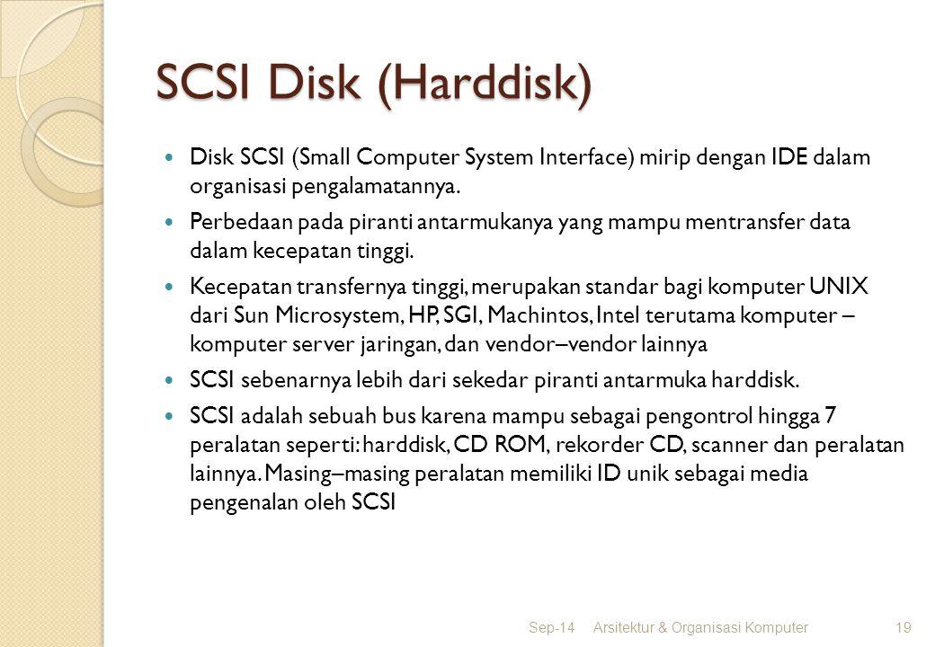 SCSI Disk (Harddisk) Disk SCSI (Small Computer System Interface) mirip dengan IDE dalam organisasi pengalamatannya. Perbedaan pada piranti antarmukany
