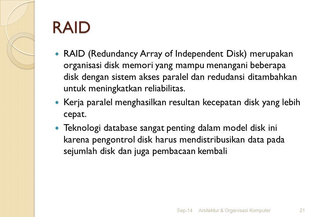 RAID RAID (Redundancy Array of Independent Disk) merupakan organisasi disk memori yang mampu menangani beberapa disk dengan sistem akses paralel dan r