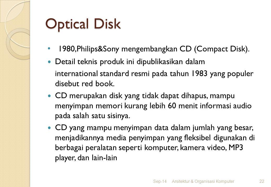 Optical Disk 1980,Philips&Sony mengembangkan CD (Compact Disk). Detail teknis produk ini dipublikasikan dalam international standard resmi pada tahun