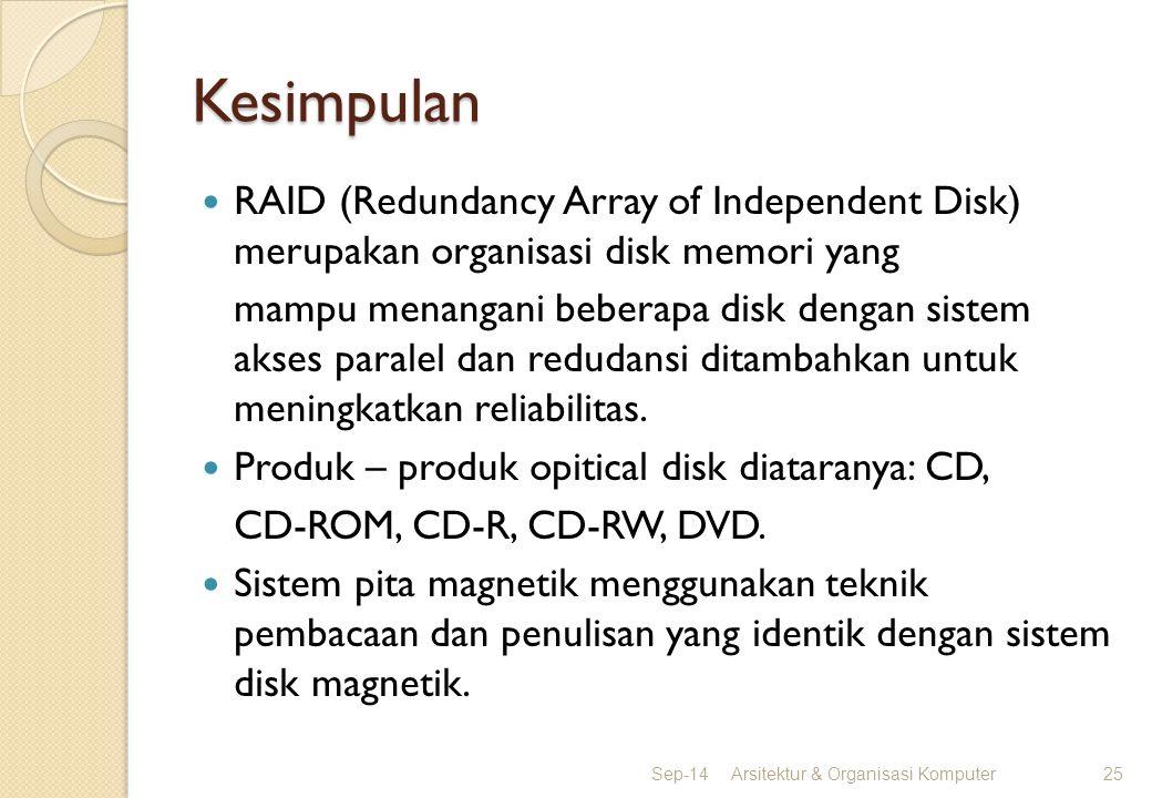 Kesimpulan RAID (Redundancy Array of Independent Disk) merupakan organisasi disk memori yang mampu menangani beberapa disk dengan sistem akses paralel