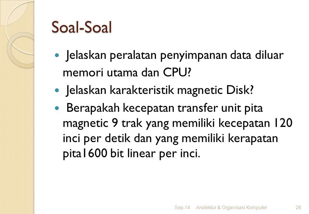 Soal-Soal Jelaskan peralatan penyimpanan data diluar memori utama dan CPU? Jelaskan karakteristik magnetic Disk? Berapakah kecepatan transfer unit pit